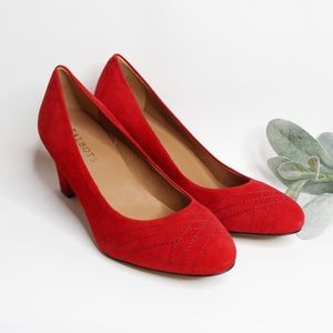 TALBOTS | Red Suede Round Toe Block Heel 7.5